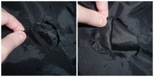 Hole in Garment Bag