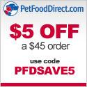 $5 Off $45 at Pet Food Direct